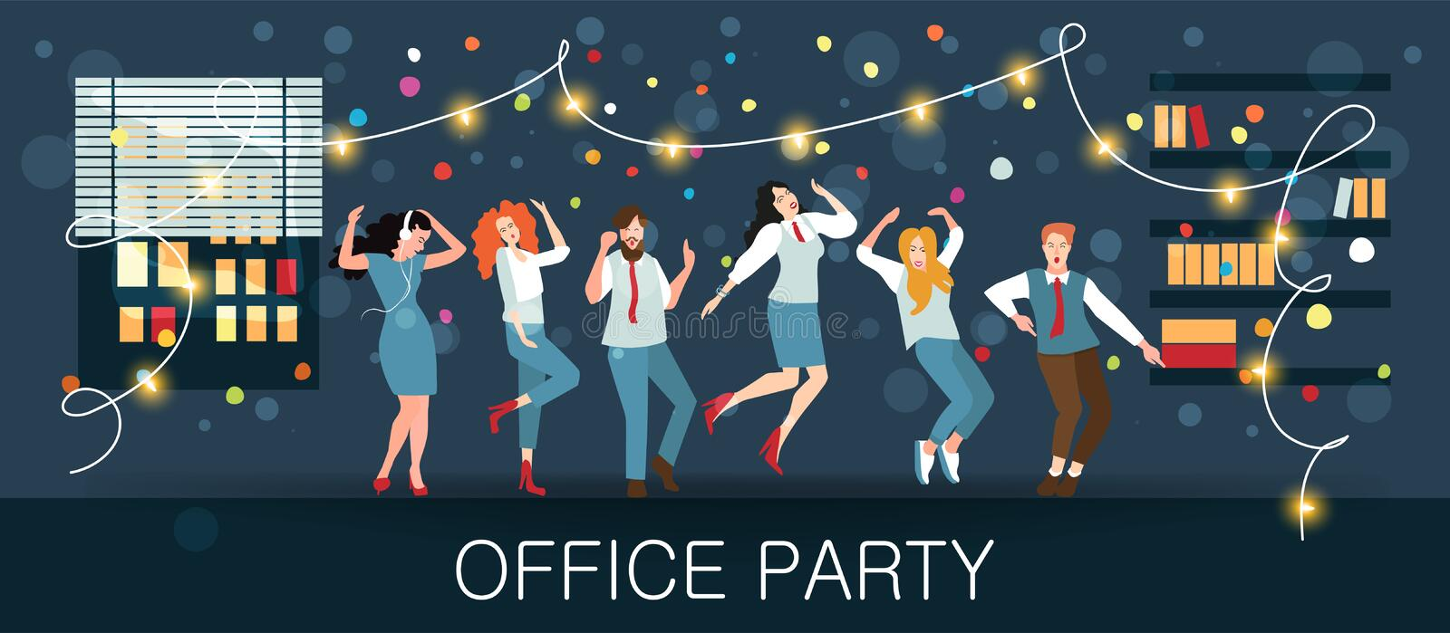 Office party, new year`s carnival, festival, holiday. Managers celebrate Christmas and New year. For posters, banners and other winter events. Vector vector illustration