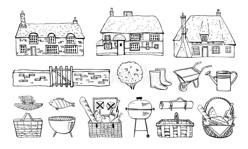 Old Europe coutryside houses, picnic goods and  garden tools. Vector sketch outline hand drawn illustration. Isolated on white background royalty free illustration