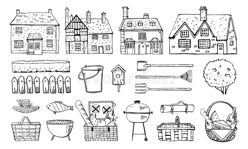 Old Europe coutryside houses, plants, picnic goods and  garden tools. Vector sketch outline hand drawn illustration. Isolated on white background vector illustration