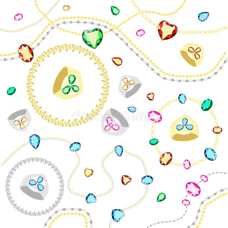 Colored gems of different cut. Gold and silver chains with diamonds of different cuts. stock illustration