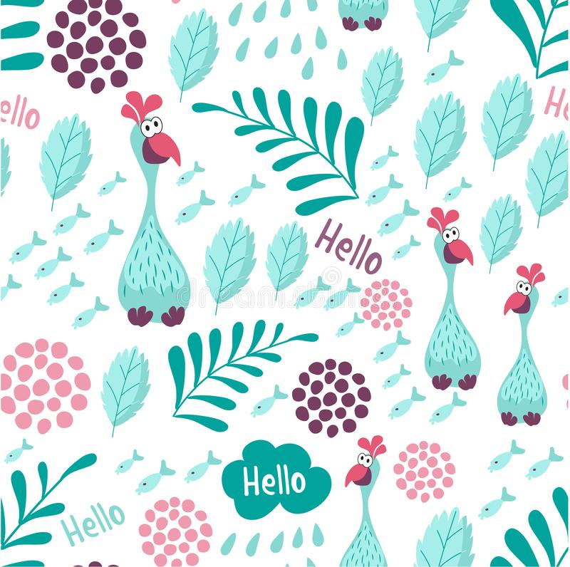 Seamless blue bird Turkey background catches sea fish. Children`s background with elements of Botanical plants. For textiles, Wall stock illustration