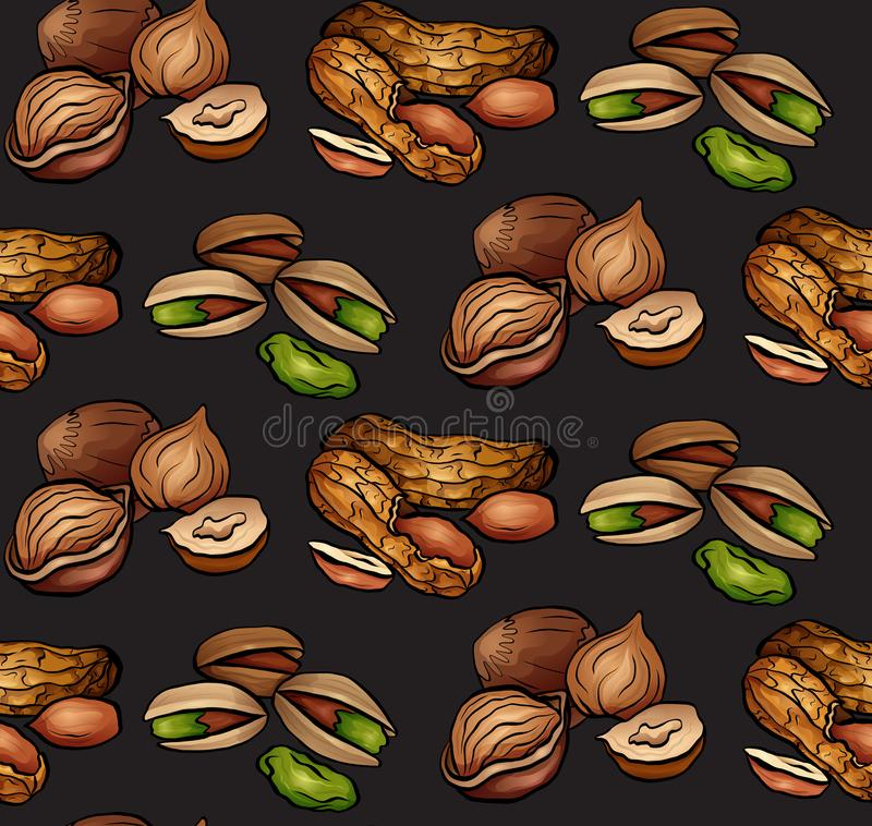 Seamless pattern with colored cartoon nuts on dark background. Peanuts, hazelnut, pistachios. stock illustration