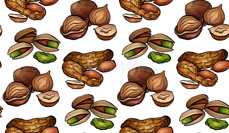 Seamless pattern with colored cartoon nuts on a white background. Peanuts, hazelnut, pistachios. stock illustration