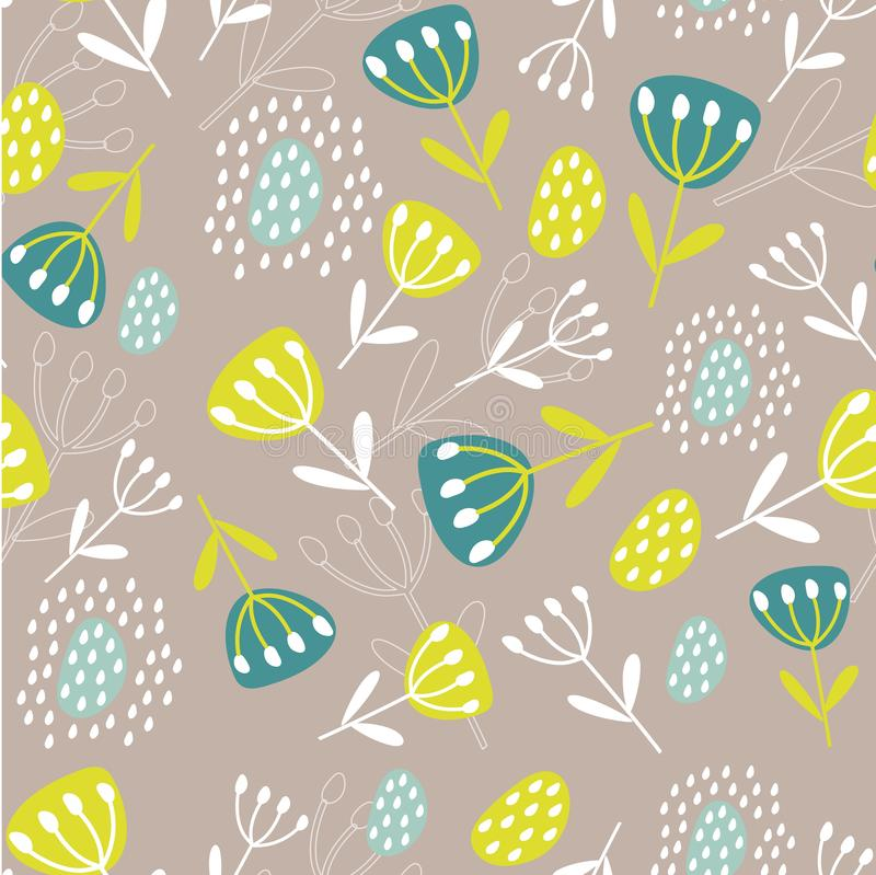 Original Botanical illustration. Tropical background with exotic plants. Seamless pattern with leaves and flowers. Print for fabri vector illustration
