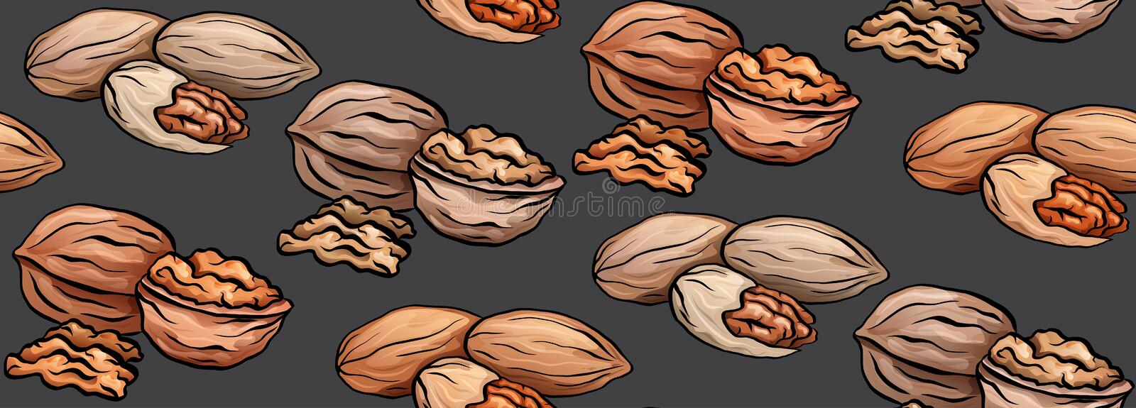Seamless texture with colored cartoon nuts on gray background. Walnut and pecan. Vector pattern stock illustration
