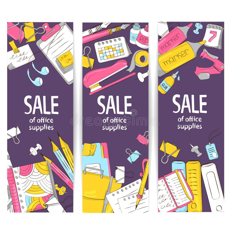 Super banner for advertising school and office products. Stationery. Vector illustration on the theme of education, knowledge, tra royalty free illustration