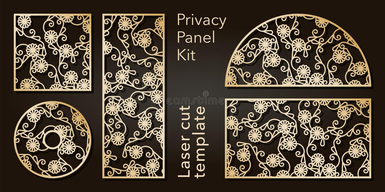 Set of openwork panels for laser cutting. Carved decorative element for interior design, room partition, screen, privacy. Panel royalty free illustration
