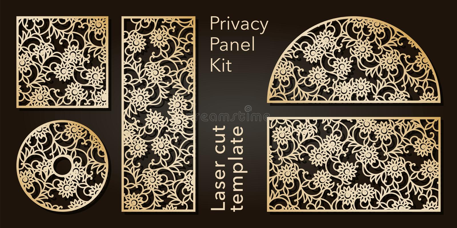 Set of openwork panels for laser cutting. Carved decorative element for interior design, room partition, screen, privacy. Panel stock illustration