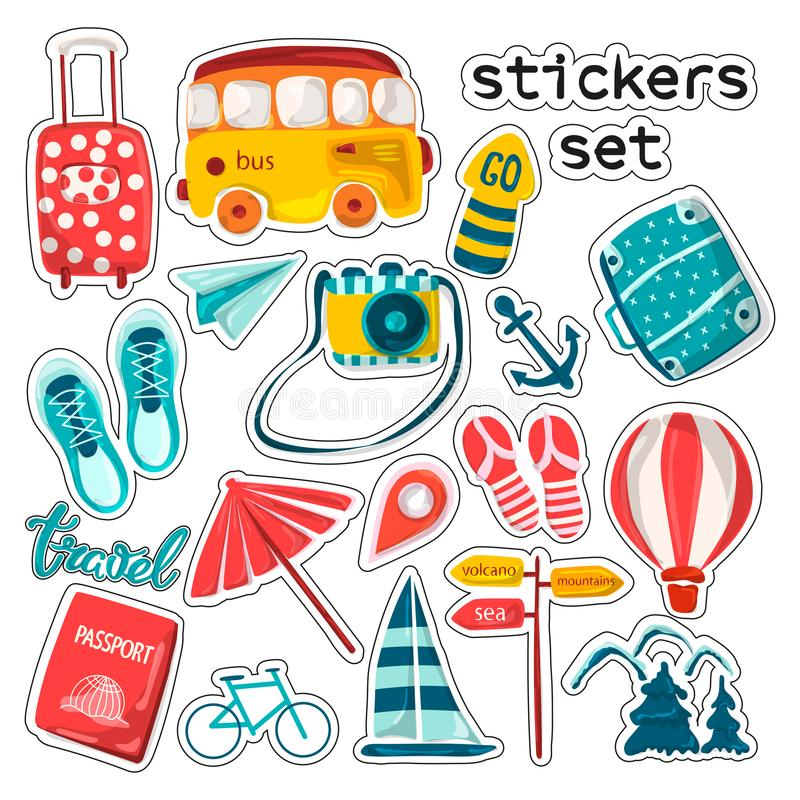Travel and leisure stickers. Planning a summer vacation, adventure or business trip. Hand-drawn cartoon icons, tourist objects and stock illustration
