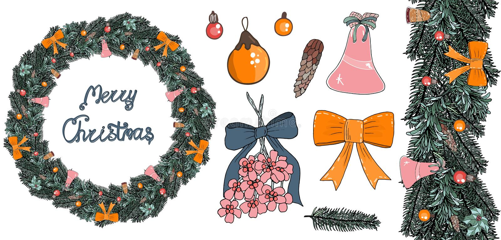 A wreath of fir branches with balls, bows and bells vector illustration