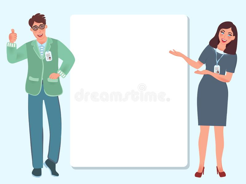 Business young people make a presentation to the public. Training, trainings, education. Banner template. Vector royalty free illustration