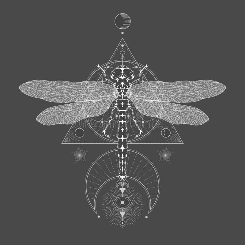 Vector illustration with hand drawn dragonfly and Sacred geometric symbol on black vintage background. Abstract mystic sign sign. White linear shape. For you royalty free illustration