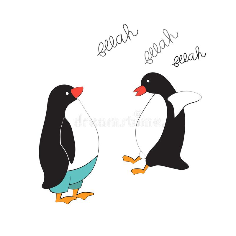 Vector illustration of penguin in comic style. Cool sticker for cover, poster royalty free illustration