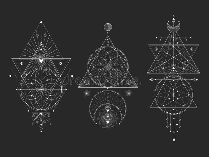 Vector set of Sacred geometric symbols with moon, eye, arrows, dreamcatcher and figures on black background. White abstract mystic stock illustration