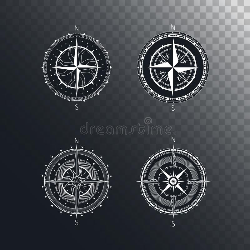 Vector set of vintage compasses or marine wind roses. Collection in line art style. Isolated on dark transparent background. Withe line collection with the stock illustration