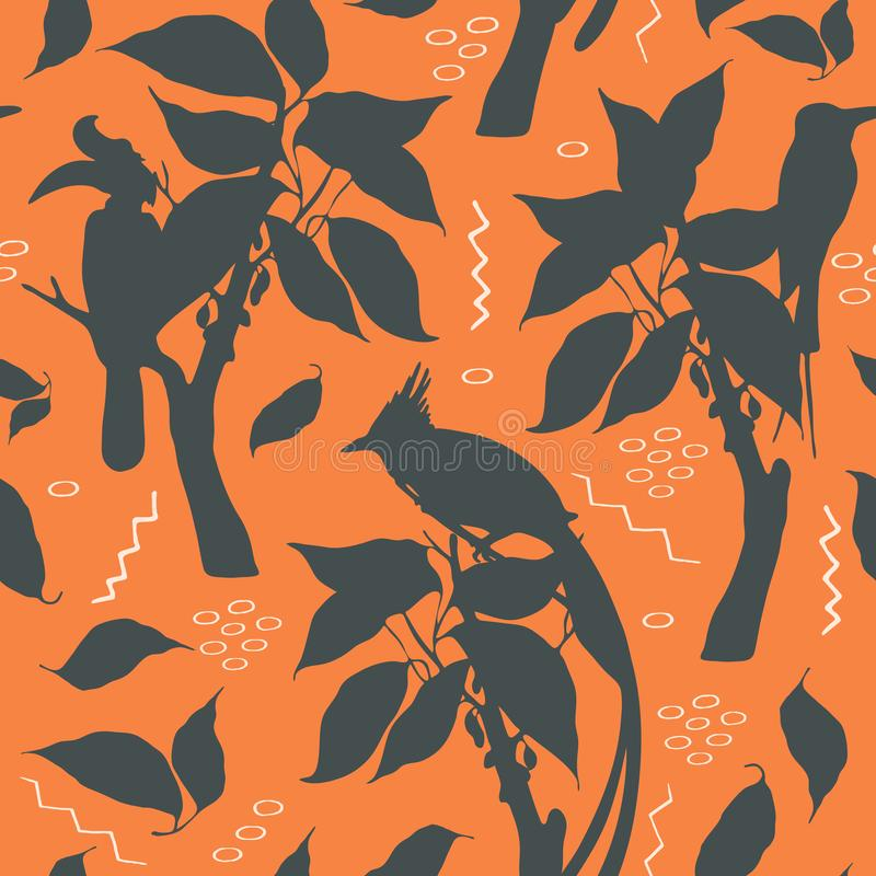 Vector silhouette pattern with exotic birds on the terracotta background. Vector silhouette pattern with rhinoceros hornbill, paradise flycatcher, bee eaters vector illustration