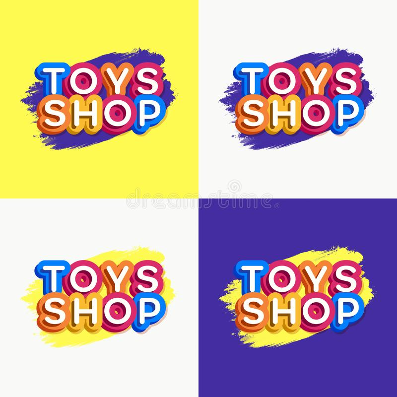 Печать. Vector toys shop logo set colorful style for game store, kids shoes, baby club, children school, clothes company, toys shop, toy vector illustration