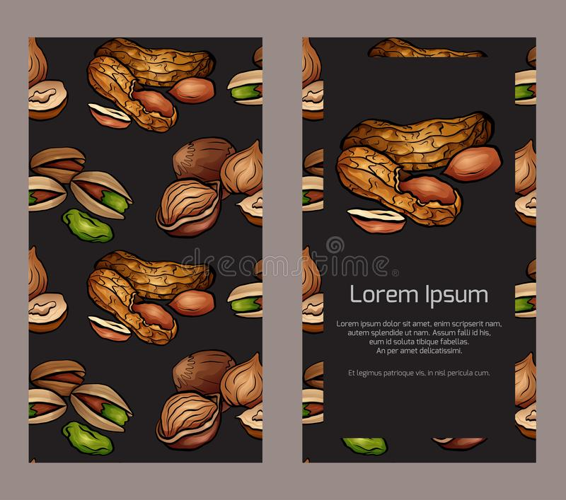 Vertical double sided banners with colored cartoon nuts on dark background and place for the text. vector illustration