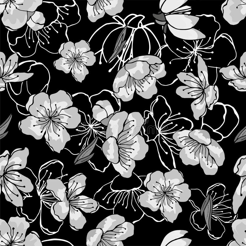 White, gray, black cherry flowers in oriental style. Seamless background, vector hand drawn illustration on black backdrop stock illustration