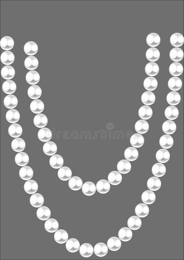 White pearl beads on a gray background. royalty free illustration