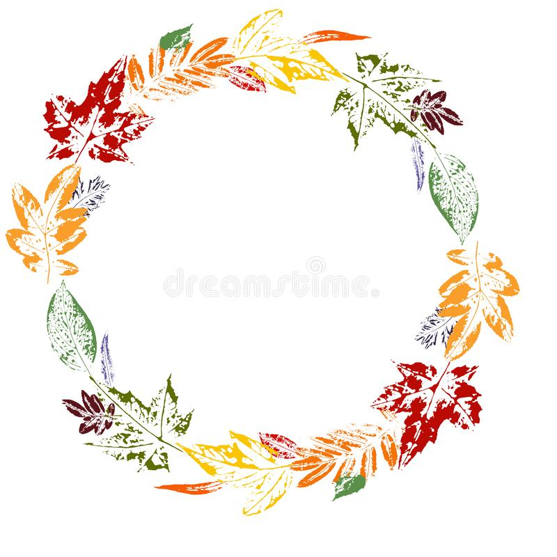 Stylish autumn wreath of multi-colored leaves on a Prints of leaves of different colors. Stylish autumn wreath of colorful leaves. Wreath of leaves. Autumn vector illustration