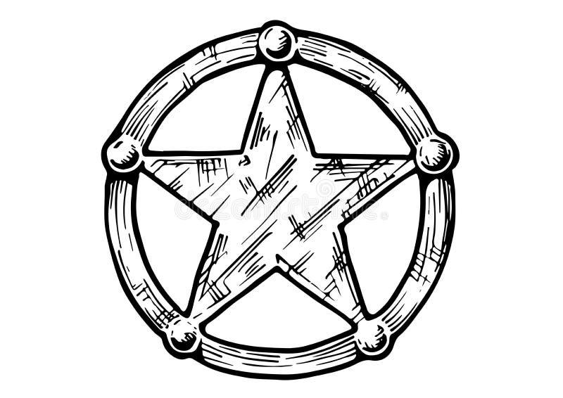 Печатьillustration of Sheriff star. Vector hand drawn illustration of Sheriff star in vintage engraved style. isolated on white background stock illustration