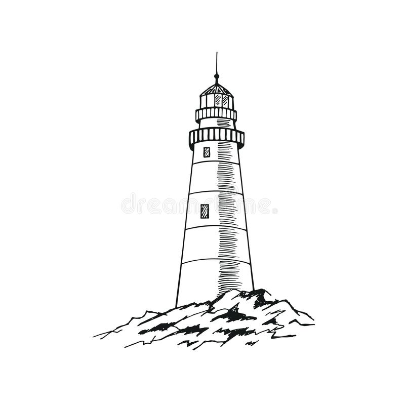 ПечатьThe lighthouse sketch. Hand drawn vector illustration royalty free illustration