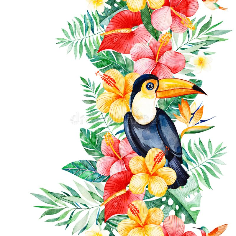 ПечатьTropical seamless repeat border with multicolored flowers,tropical leaves,branch,toucan royalty free illustration