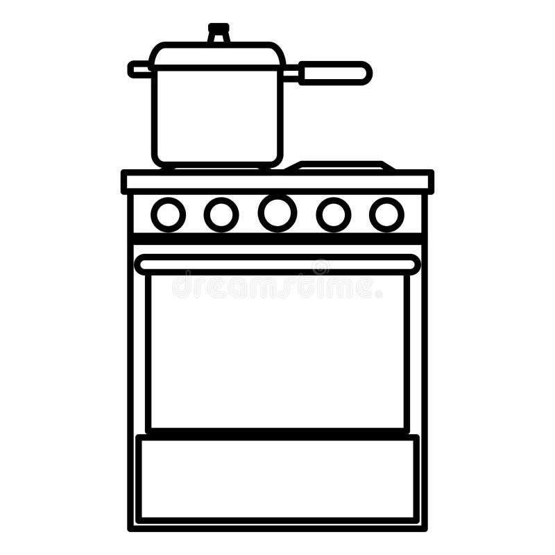 Печь кухни с баком иллюстрация штока