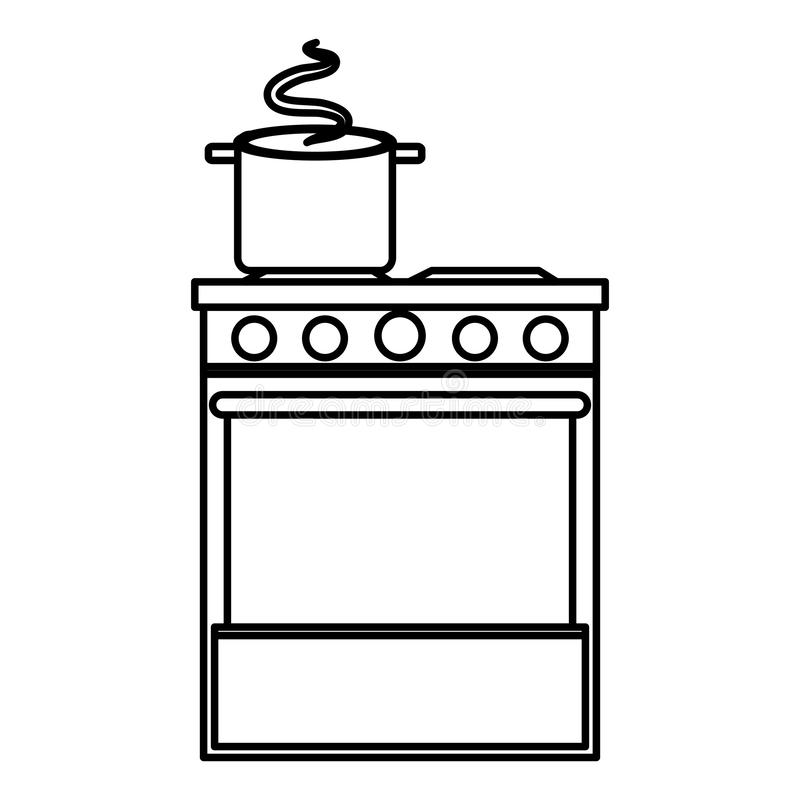 Печь кухни с баком иллюстрация вектора