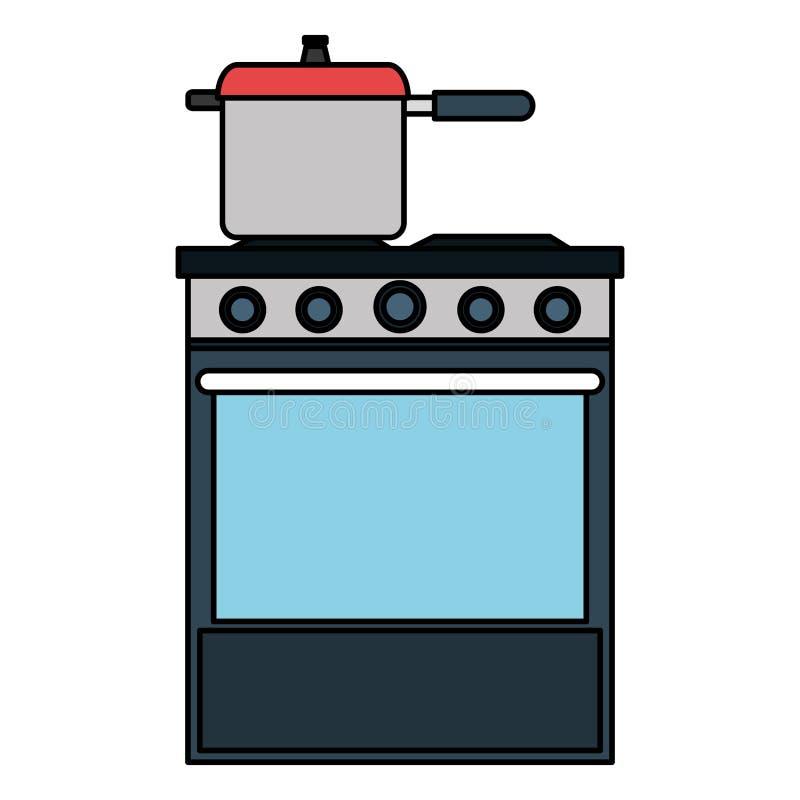 Печь кухни с баком бесплатная иллюстрация