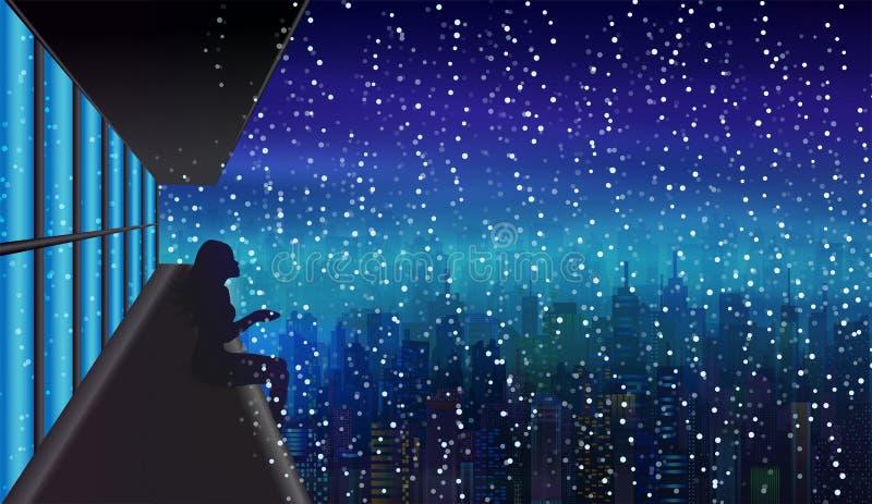 Первый снег, ночь зимы над городом, силуэтом девушки горизонта иллюстрация вектора