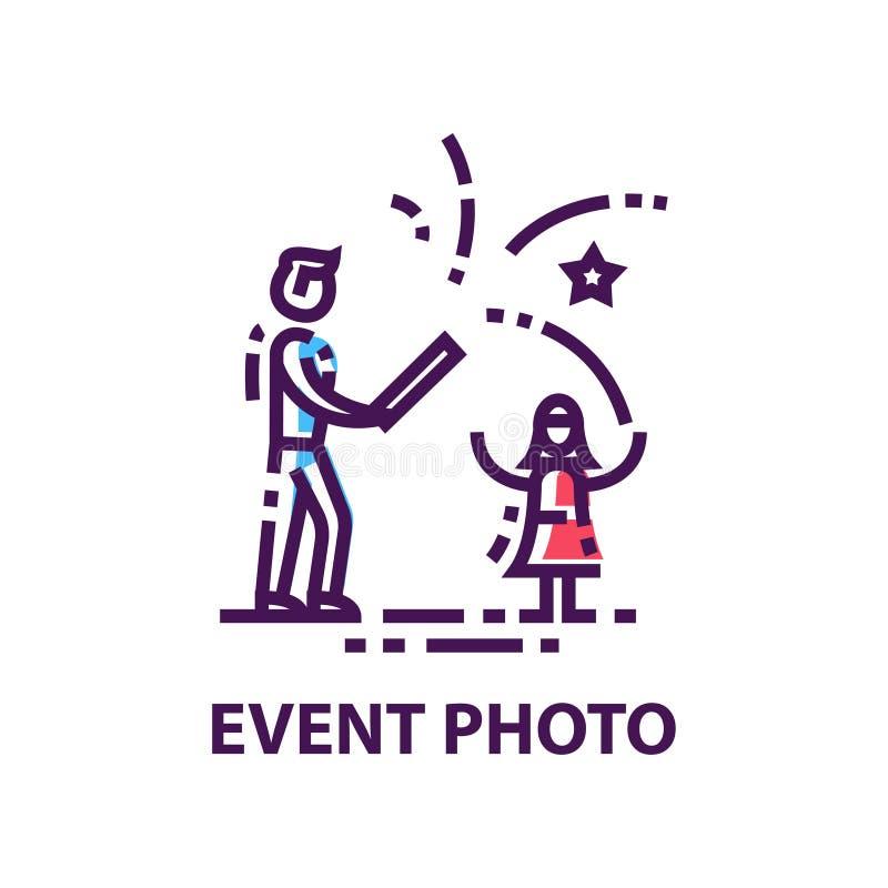 Первоначальный плоский логотип вектора с фейерверками человека и девушки запуская Фото события Эмблема в линейном стиле бесплатная иллюстрация