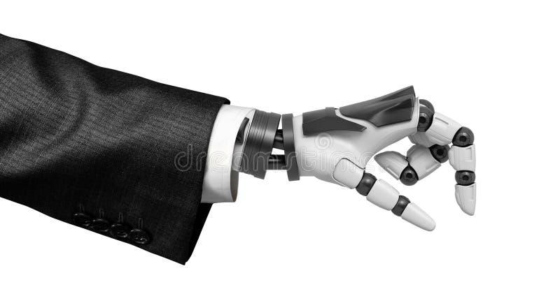 перевод конца-вверх 3d руки робота в костюме изолированном на белой предпосылке иллюстрация вектора