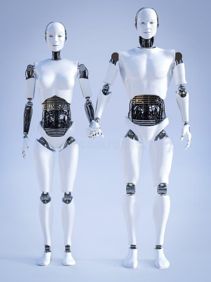 перевод 3D мужского и женского робота держа руки иллюстрация штока