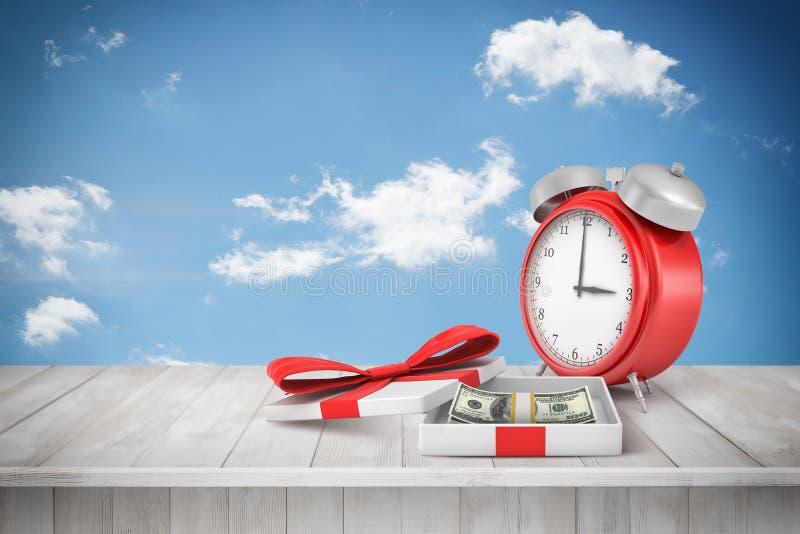 перевод 3d старомодного будильника и коробки с долларовыми банкнотами на деревянном столе против голубого неба бесплатная иллюстрация