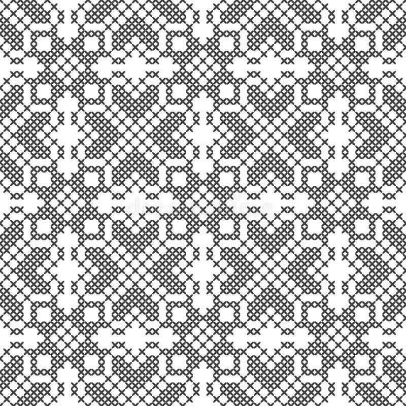 Перекрестный стежок белизна черной картины безшовная Вышивка, вязать абстрактная предпосылка геометрическая этнические орнаменты иллюстрация вектора