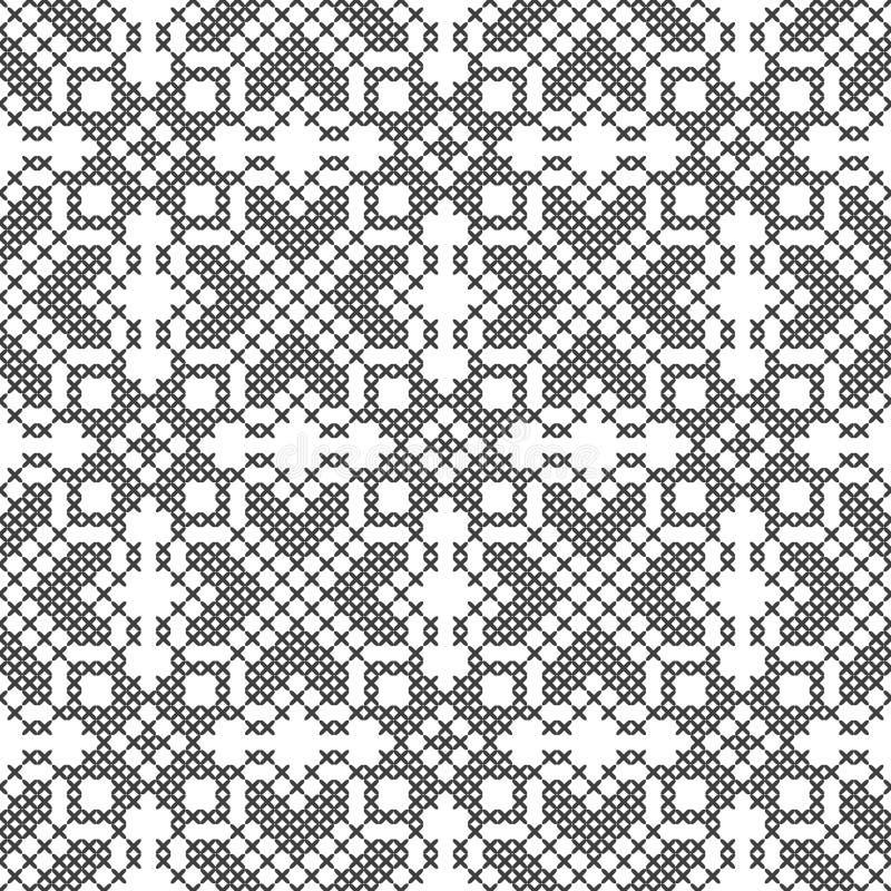 Перекрестный стежок белизна черной картины безшовная Вышивка, вязать абстрактная предпосылка геометрическая этнические орнаменты иллюстрация штока