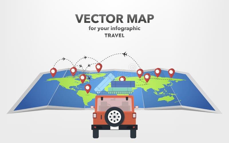 Перемещение на автомобиле в плоском стиле, иллюстрации вектора иллюстрация вектора
