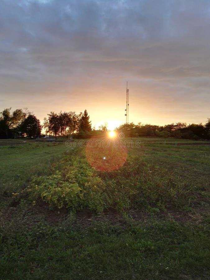 Передатчик с заходом солнца с полем стоковая фотография