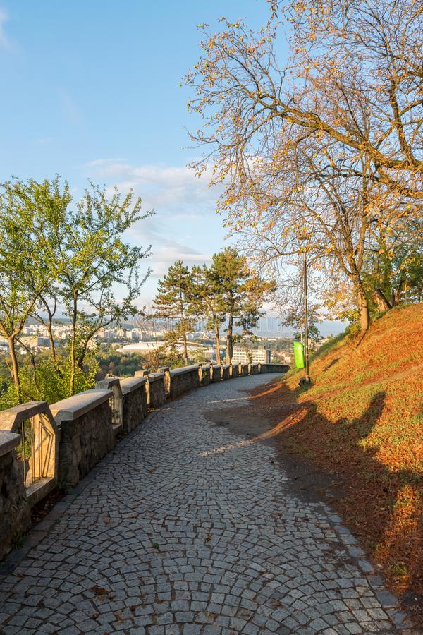 Переулок на парке Cetatuia, известном как холм Cetatuia, на солнечный день в cluj-Napoca, Румыния стоковое фото