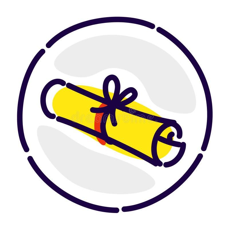 Перечень, рукопись, исключительный логотип, знак Значок вектора плоский Изображение изолировано на белой предпосылке Желтый стары иллюстрация вектора