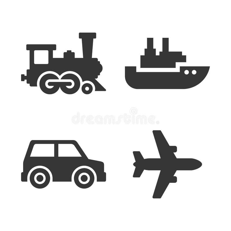 переход установленный иконами Самолет, поезд, корабль и автоматические знаки вектор иллюстрация вектора