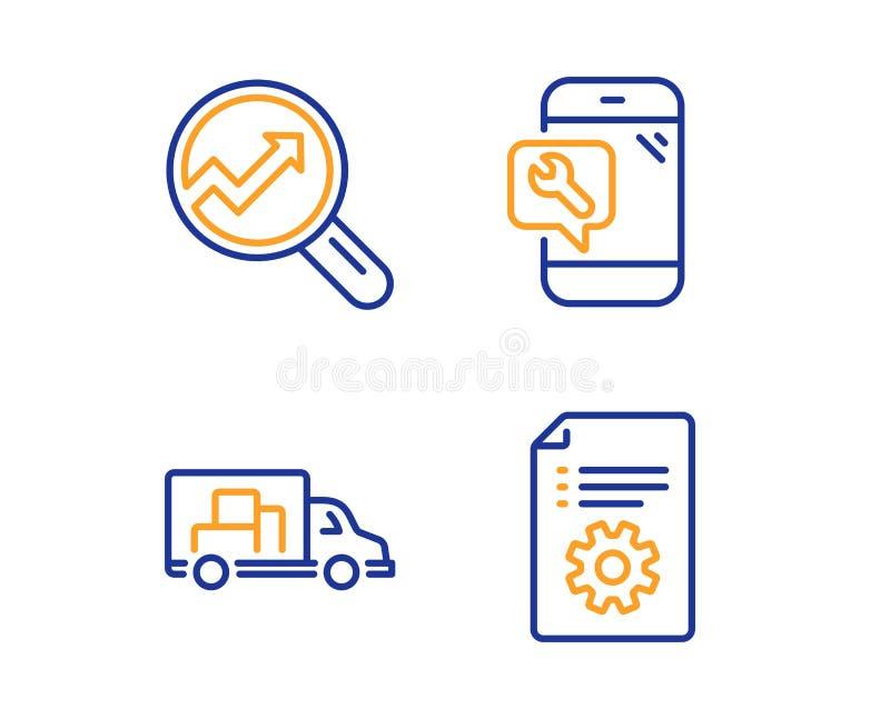 Переход тележки, ремонт аналитика и телефона набор значков Технический знак документации вектор иллюстрация штока