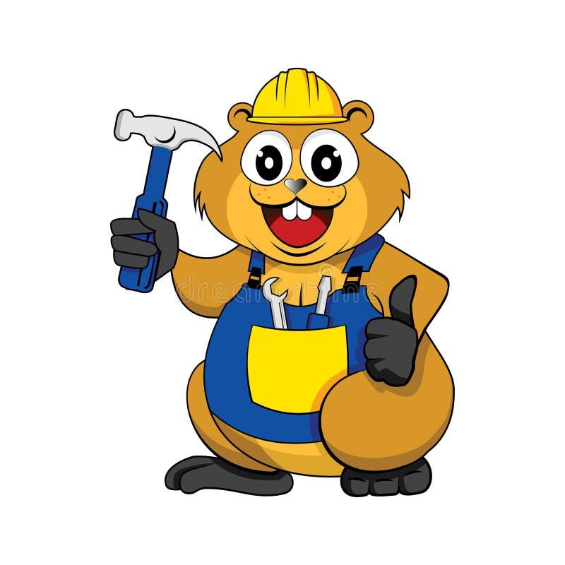 Персонаж из мультфильма каменщика плотника построителя бобра милый иллюстрация вектора