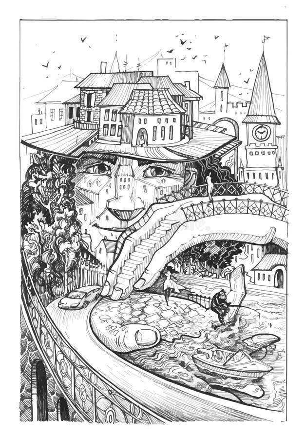 Персона которая построена в городе на его шляпе построены дома, люди идут иллюстрация вектора