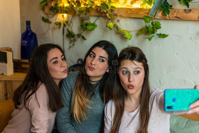 Пиво счастливой группы друзей выпивая и selfie принимать на бар-ресторан винзавода стоковое фото rf
