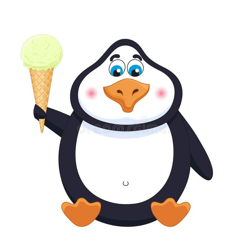 Пингвин мультфильма с мороженым фисташки в рожке сидит, пингвин обрабатывает с мороженым иллюстрация вектора