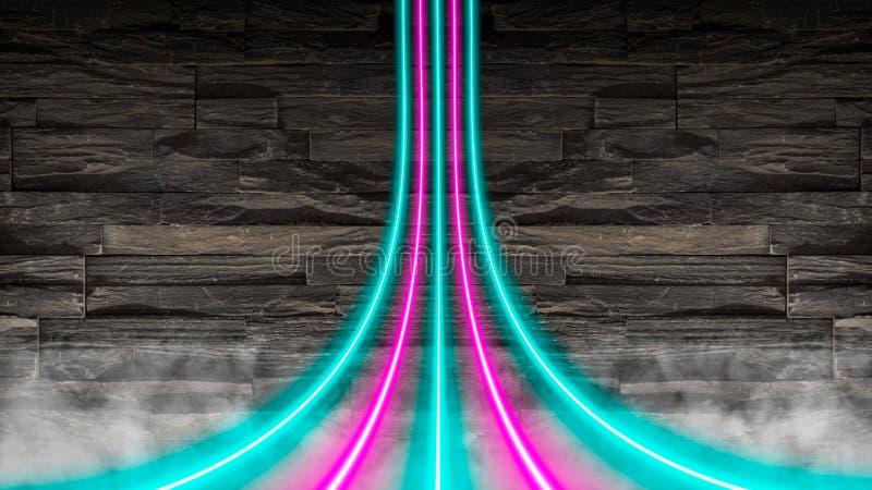 Пинк и неоновые света бирюзы снованные над каменной стеной стоковое фото rf