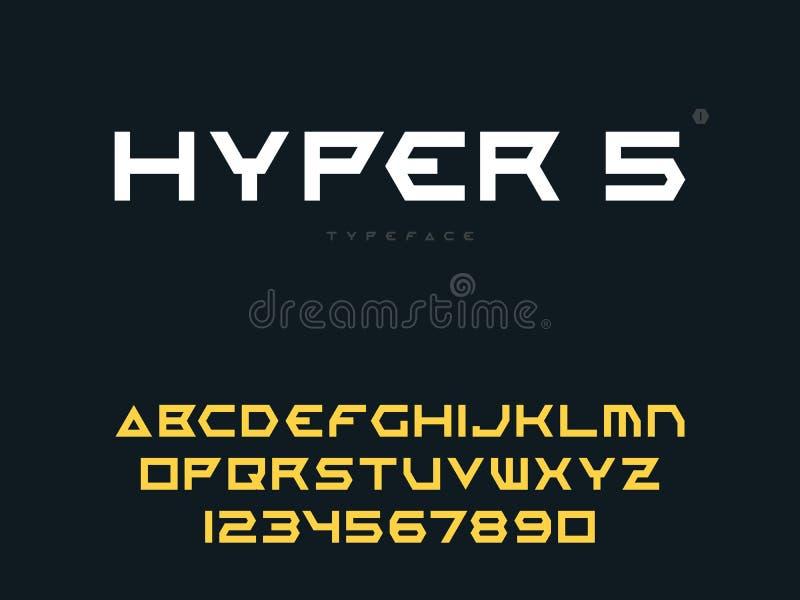 Письма и номера алфавита вектора латинские uppercase Абстрактный футуристический шрифт космоса иллюстрация вектора